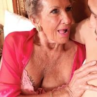 70 plus GILF Sandra Ann flaunting superb pins and butt before hard-core sex