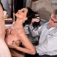 Big-boobed older X-rated film starlet Rita Daniels knocker boinking and riding atop of massive penis