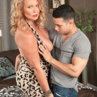 Big-chested light-haired grandma giving fellatio on knees before hardcore doggie-style sex