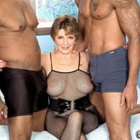 Buxom 60 plus MILF Bea Cummins draining BIG BLACK COCK in bi-racial threeway sex jamboree