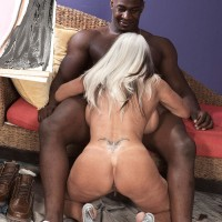 Chesty 60 plus pornstar Sally D'Angelo gets banged by a younger black dude