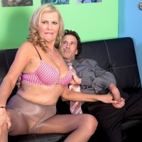 Chesty ash-blonde MILF over Sixty Bethany James delivering immense wood blowjob in office