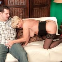 Chubby aged amateur DeAnna Bentley unsheathing enormous titties in tights before FELLATIO
