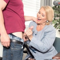Chunky dame over 60 Alice tonguing and giving huge junk hj in work environment place
