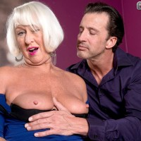 Clothed 60 plus MILF Jeannie Lou loosing enormous older melons in crotchless undies