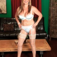 Cool MILF over sixty Lexi McCain seducing younger boy in milky hosiery and lingerie