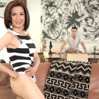 Diminutive Asian grandmother Kim Anh undressing down to silk lingerie and thong panty set