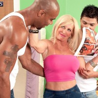 Fair-haired grandmother Julia Caboose revealing nice juggs in denim jeans before bi-racial MMF Threesome