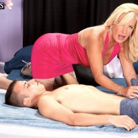 Fair-haired MILF over 60 Julia Ass unleashing huge tits before straddling of hefty rod