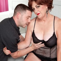 Ginger-haired granny Gabriella LaMay uncovering big boobies and swell nips from bodystocking
