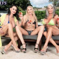 Grandma XXX vid star Rita Daniels and her gfs tempt the pool cleaning boys