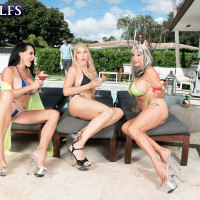 XXX granny pornstar Rita Daniels and her girlfriends entice the pool cleaning studs