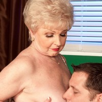 Grannie XXX actress Jewel seducing sex from junior dude in office garbed tan hose