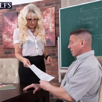 Hot mature teacher Lady S seduces a male student in a black skirt and glasses