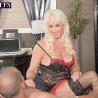Huge-boobed lingerie garmented mature XXX starlet Madison Milstar jerking knob in hosiery