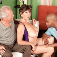 Huge-boobed MILF over 60 Bea Cummins banging BIG BLACK COCK while cuckold spouse observes