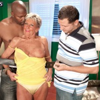 Huge-boobed over 70 granny Sandra Ann unclothed for interracial MMF threesome sex