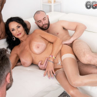 Huge-titted granny Rita Daniels deep-throats enormous white and black penises for bday number sixty nine