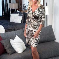 Jaw-dropping over 60 MILF Madison Milstar tempts a junior guy in her bra and undies