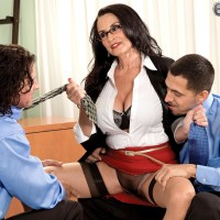Lanky dark-haired Rita Daniels displaying older upskirt underwear before MMF 3some