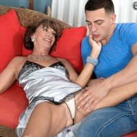 Mature first timer over 60 Sydni Lane loosing floppy funbags from lingerie before sex