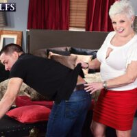 Mischievous MILF on the other side of sixty Jewel tempts a younger boy before slurping his cock