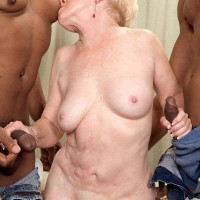 Nasty grandma Jewel hooks up with TWO large ebony rods for MMF 3 way fantasy