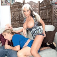 Nasty Sixty plus MILFS Sally D'Angelo and Luna Azul delivering hefty rod blowjob in threeway
