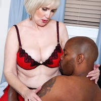 Nylon and lingerie wearing grandmother Lola Lee providing humungous ebony knob BLOW JOB with humungous juggs out