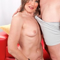 Nylons adorned granny Donna Davidson stripped for sex by junior dude