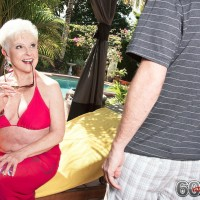Over 60 grannie Jewel freeing enormous boobies from swimsuit before doggie screwing