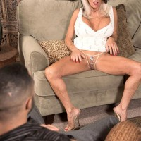Over 60 MILF Sally D'Angelo baring hefty funbags before delivering massive penis blow job