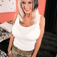 Over 60 MILF Sally D'Angelo demonstrating upskirt underwear before providing XXX blow job