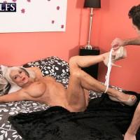 Over 60 MILF Sally D'Angelo demonstrating upskirt underwear before providing xxx BLOW JOB