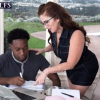 Over 60 woman Maria Fawndeli seduces a junior ebony stud while tutoring him