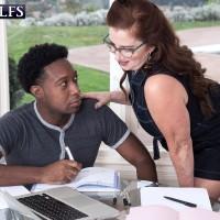 Over 60 woman Maria Fawndeli seduces a junior ebony stud while tutoring him