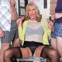Over Sixty ash-blonde MILF Phoenix Skye sucking off humungous penises in MMF 3 way