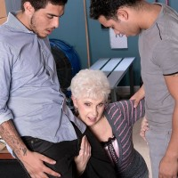 Over Sixty experienced adult film star Jewel fellating big sausages during multiracial MMF