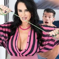 Over Sixty MILF Rita Daniels seduces her stepson and masturbates his wood after disrobing him