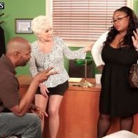 Over Sixty MILF unsheathing massive grandmother tits before multiracial sex in office place with BIG EBONY DICK