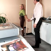 Pantyhose attired aged office worker Luna Azul loosing large boobs before giving ORAL JOB
