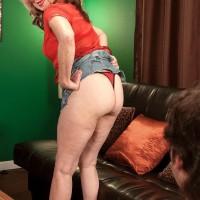 Platinum-blonde MILF over Sixty Miranda Torri unveiling monster-sized natural titties and bare backside