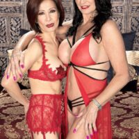 Provocative old chicks Rita Daniels and Kim Anh have a threesome with a younger boy