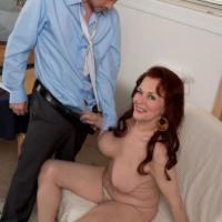 Red-haired grandma Katherine Merlot loosing enormous floppy aged tits before blow job