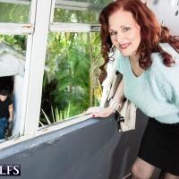 Redhead MILF over Sixty Katherine Merlot loosing gigantic flappy juggs for nip play