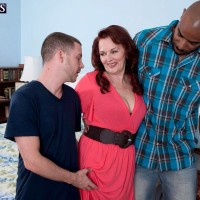 Redheaded granny Katherine Merlot pulling out large ass before multiracial MMF Threeway