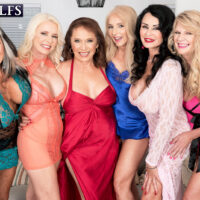 Sixty plus MILF Mia Magnusson gathers her girfriends for an all female fuck-fest