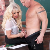 Stellar experienced teacher Gal S entices a masculine student in a black micro-skirt and glasses