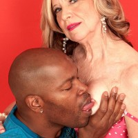 Stocking and high heel wearing MILF over 60 Miranda Torri having hard-core bi-racial sex