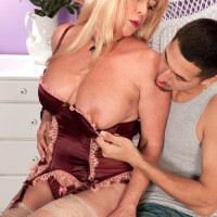 Stocking and lingerie adorned 60 plus MILF Lexi McCain offering cute butt for sex
